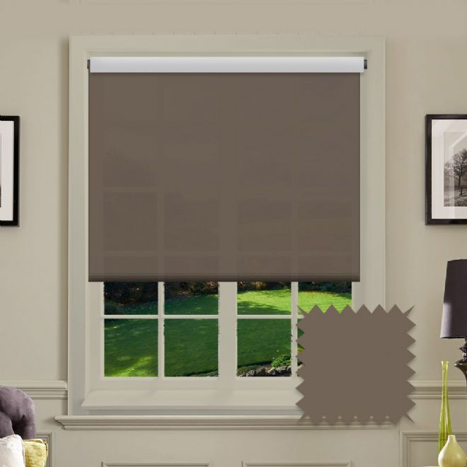 Brown Roller Blind - Astral Havana Plain - Just Blinds